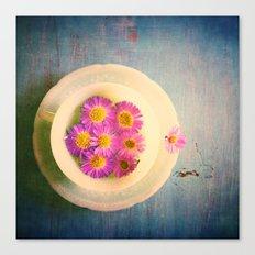 Spring Flowers on Vintage Table Canvas Print