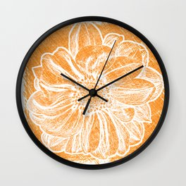 White Flower On Warm Orange Crayon Wall Clock