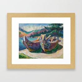 War Canoes by Emily Carr Framed Art Print
