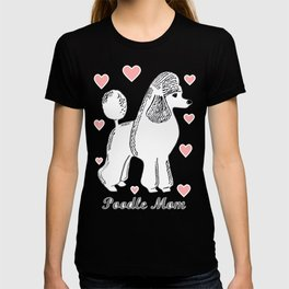 Poodle Mom in Pink and White T-shirt