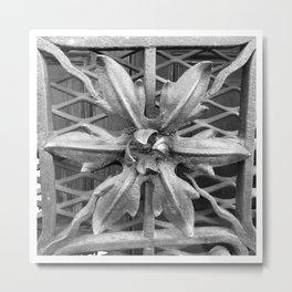 Metal Flower - Window Fence (Black & White) Metal Print