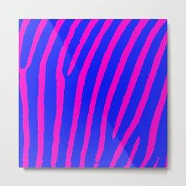 Zebra Print (Pink & Blue) Metal Print