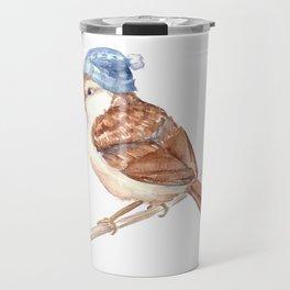 Winter Bird In Hat Travel Mug