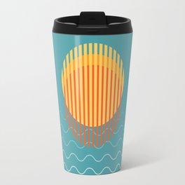 Modern Minimalist Illustration Of Sunset Over Blue Sky Travel Mug