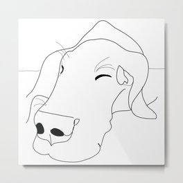Great Dane dog b/w face Metal Print