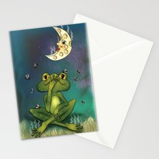 Frog and stinky moon Stationery Cards