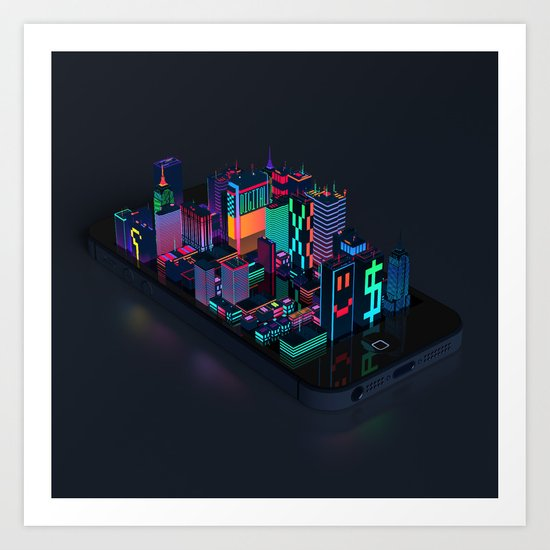 Digital City Art Print