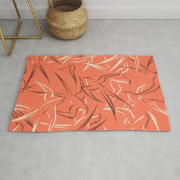 Retro Pinky Red Swallows Print Rug