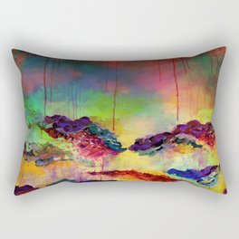 IT'S A ROSE COLORED LIFE 4 - Deep Red Colorful Floral Garden Abstract Crimson Green Painting Rectangular Pillow
