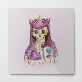 skull kawaii pizza alien unicorn Metal Print