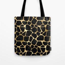 Glam Black and Gold Giraffe Print Tote Bag
