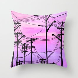 Industrial poles violet Throw Pillow