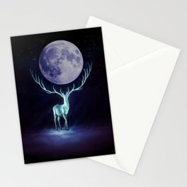 Moony Deer at Night Stationery Cards