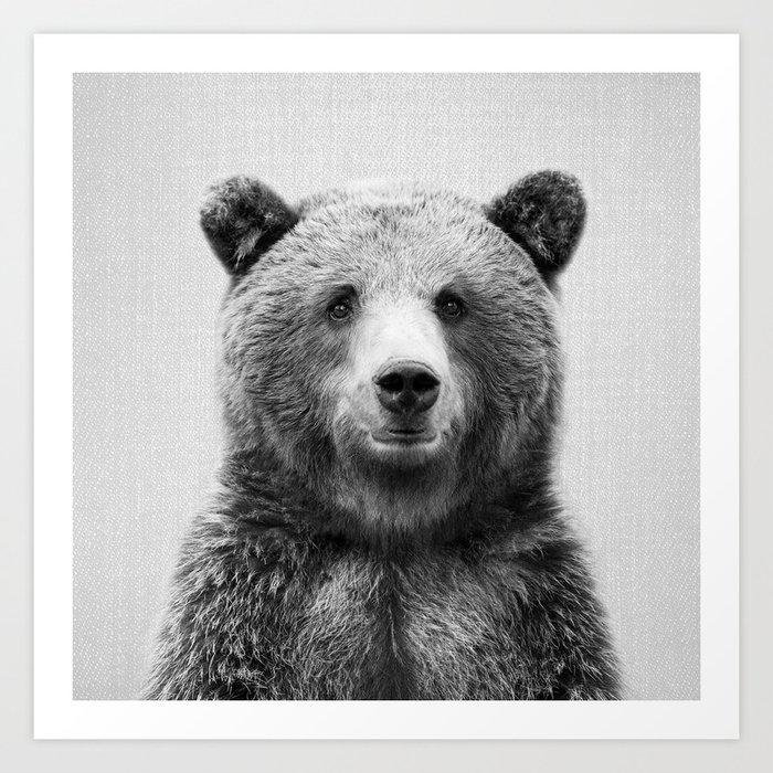 Grizzly Bear - Black & White Art Print
