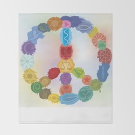 Peace Sign In Colors Throw Blanket