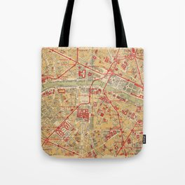 Paris City Centre Map - Vintage Full Color Tote Bag