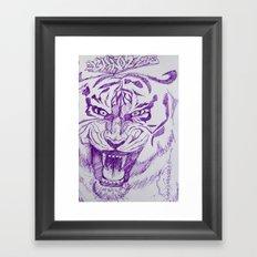 Roaring Purple Tiger Framed Art Print