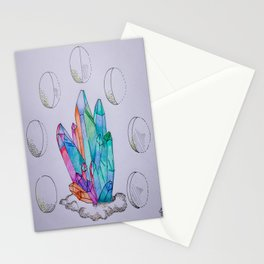 Moon Phases Crystals 1 Stationery Cards