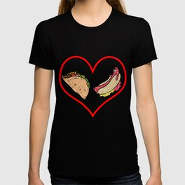 Love Tacos And Hot Dogs Fast Food Heart Gift T-shirt