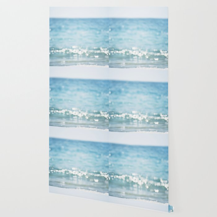 Beach Ocean Photography Art, Blue Coastal Photo, Aqua Seascape Photograph, Waves Art Wallpaper