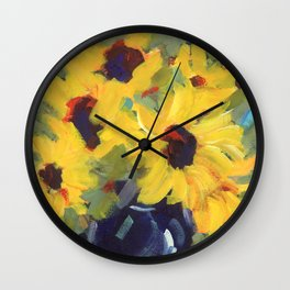 Sage and Sunflowers Wall Clock