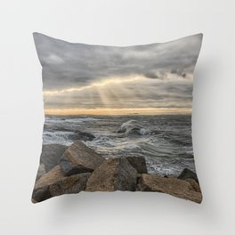 Sunbeams at Lanescove with rough waves Throw Pillow