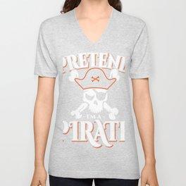 "Boney Ship Wreck Skull ""Pretend I'm A Pirate"" T-shirt Design Spooky Creepy Halloween Scary Ghost Unisex V-Neck"