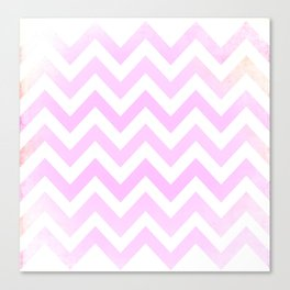 Pale Pink textured Chevron Pattern Canvas Print