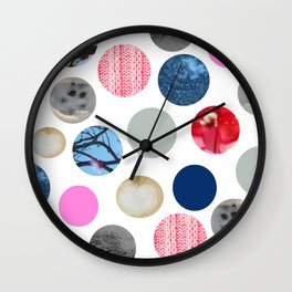 Winter Poka Dot Collage Wall Clock