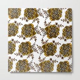 Watercolor houseleek - amber Metal Print