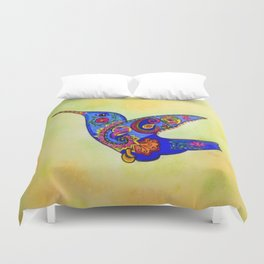 humming bird in color with green-yellow back ground Duvet Cover