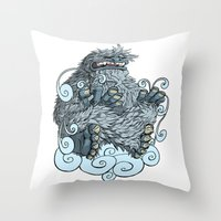 yeti Throw Pillows featuring Yeti by David Comito