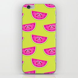 Cute Pink Watermleons on Lime iPhone Skin