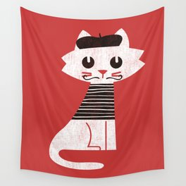 Mark the cat goes to Paris Wall Tapestry