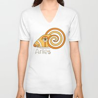 deco V-neck T-shirts featuring Deco Aries by Jorge Garza