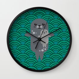 Cute Seal Pup Swimming with Mom Wall Clock