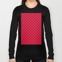 Burgundy Red on Crimson Red Stars Long Sleeve T-shirt