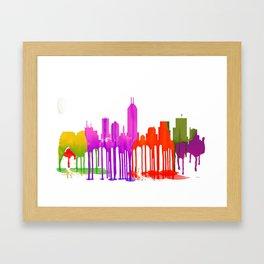 Indianapolis Indiana  Skyline - Puddles - Framed Art Print