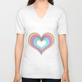 Pastel Heart Unisex V-Neck