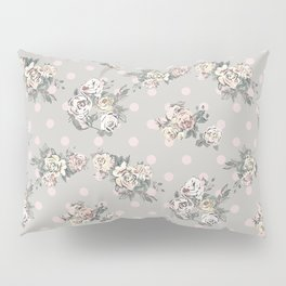 Vintage chic artistic pink ivory polka dots floral Pillow Sham