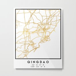 QINGDAO CHINA CITY STREET MAP ART Metal Print