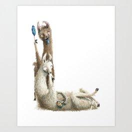 L is for Laughing Llamas with lollipops - The Laugh-A-Bit Alphabet Letter L by BirdsFlyOver Art Print