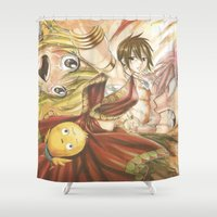fairy tail Shower Curtains featuring fairy tail eclaire by 6alba