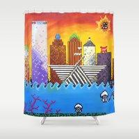 milwaukee Shower Curtains featuring 8 Bit Milwaukee by Amanda Iglinski
