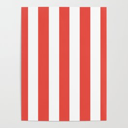 Carmine pink - solid color - white vertical lines pattern Poster