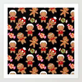 Cute decorative hygge pattern. Happy gingerbread men and sweet xmas caramel chocolate candy. Xmas Art Print