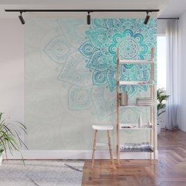 Turquoise Flower Mandala Wall Mural