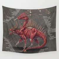 muscle Wall Tapestries featuring Western Dragon Muscle Anatomy by Rushelle Kucala Art