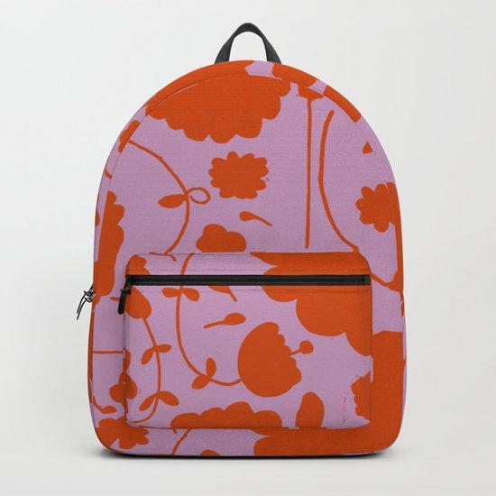 floral pink and orange Backpack