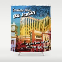 postcard Shower Curtains featuring New Jersey Postcard by MLauxDesign